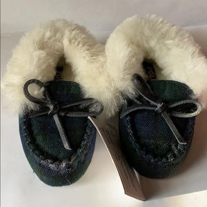 Infant Polo Ralph Lauren Green Fur Loafers
